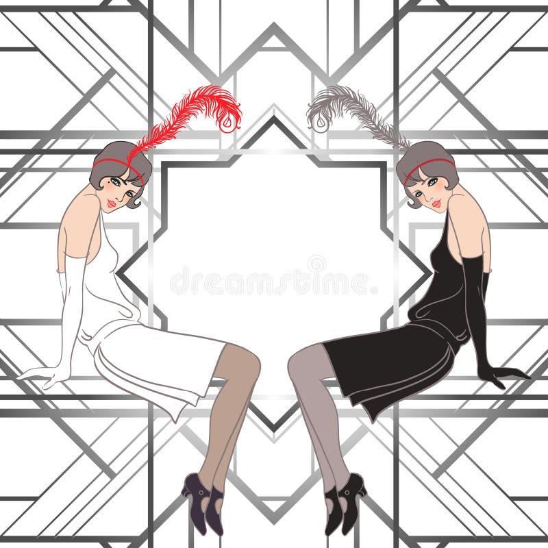 Muchacha de la aleta: Diseño retro de la invitación del partido stock de ilustración