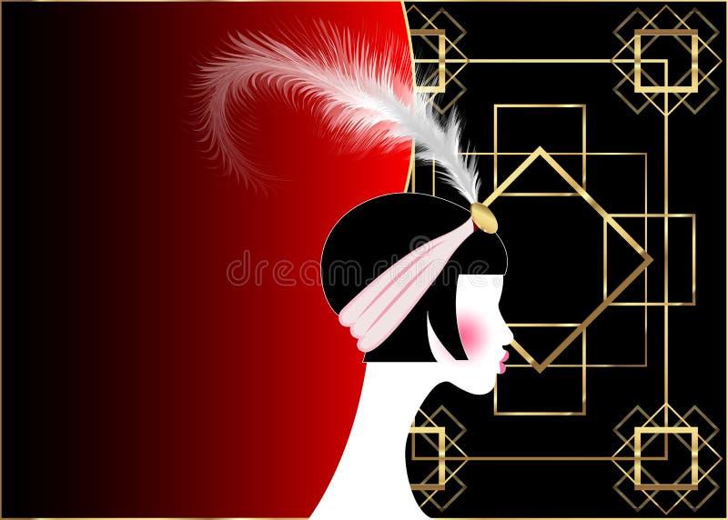 Muchacha de la aleta, mujer retra de años 20 El diseño retro de la invitación del partido con los años 20 hermosos de un retrato  libre illustration