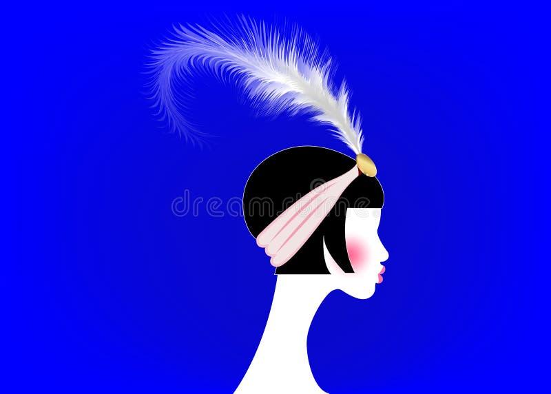 Muchacha de la aleta, mujer retra de años 20 El diseño retro de la invitación del partido con los años 20 hermosos de un retrato  stock de ilustración