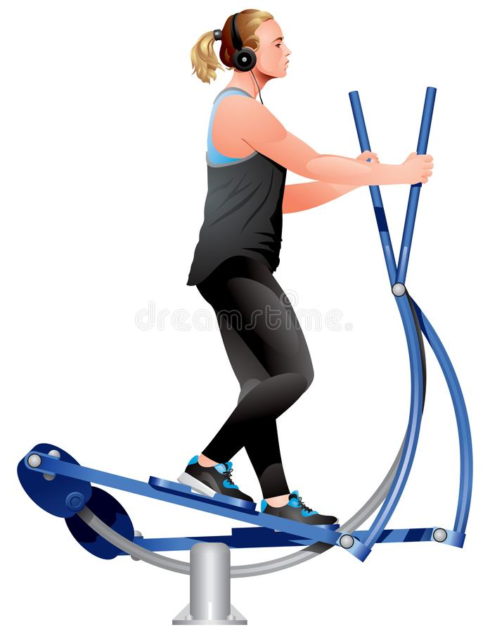 Muchacha de la aptitud que hace ejercicios en la máquina cruzada elíptica del ejercicio del instructor imagen de archivo libre de regalías
