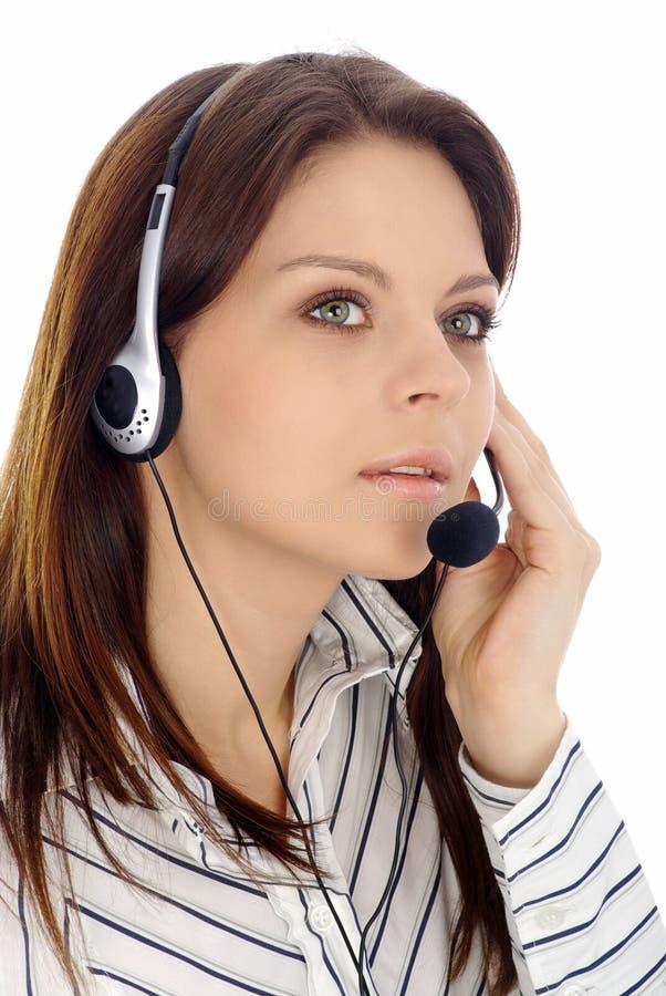 Muchacha de la atención al cliente. Centro de atención telefónica imagenes de archivo