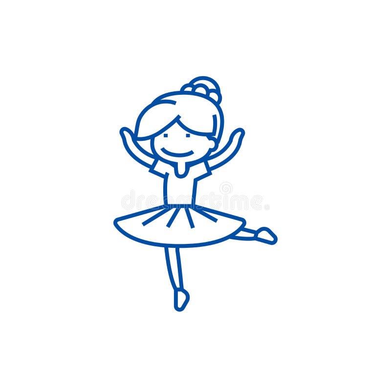 Muchacha de la bailarina, línea concepto del bailarín del balet del icono Muchacha de la bailarina, símbolo plano del vector del  libre illustration