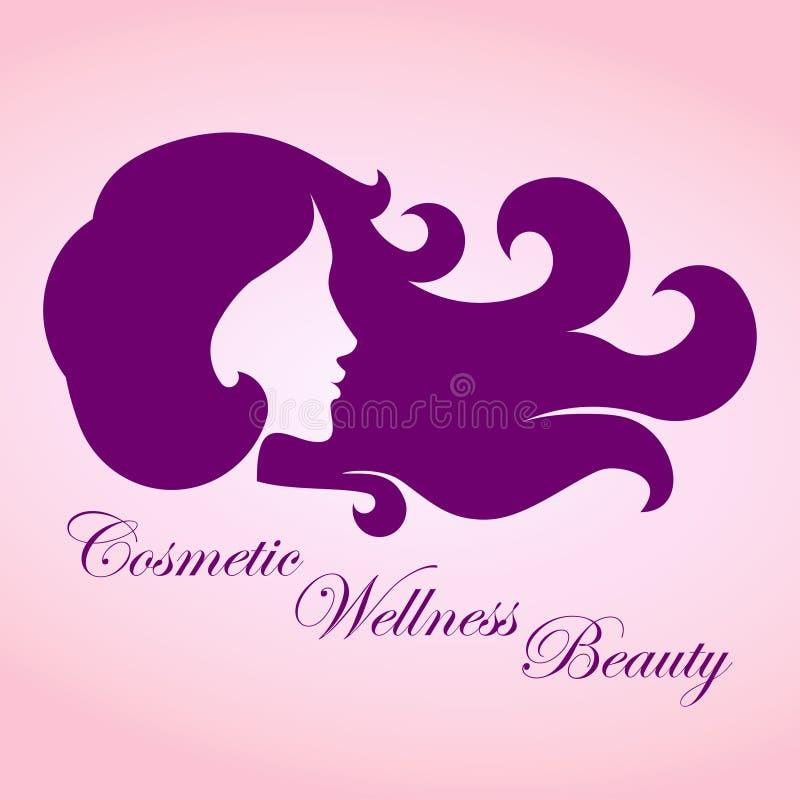 Muchacha de la belleza con el logotipo del pelo rizado - vector stock de ilustración