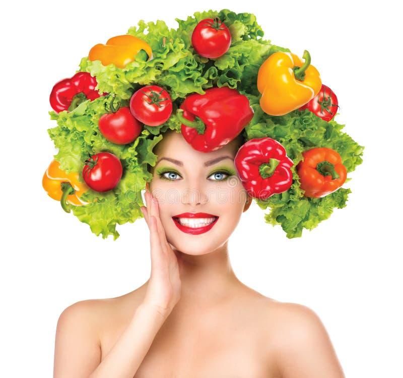 Muchacha de la belleza con el peinado de las verduras fotografía de archivo