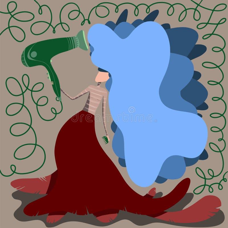 Muchacha de la belleza que hace el brushing el pelo azul largo ilustración del vector
