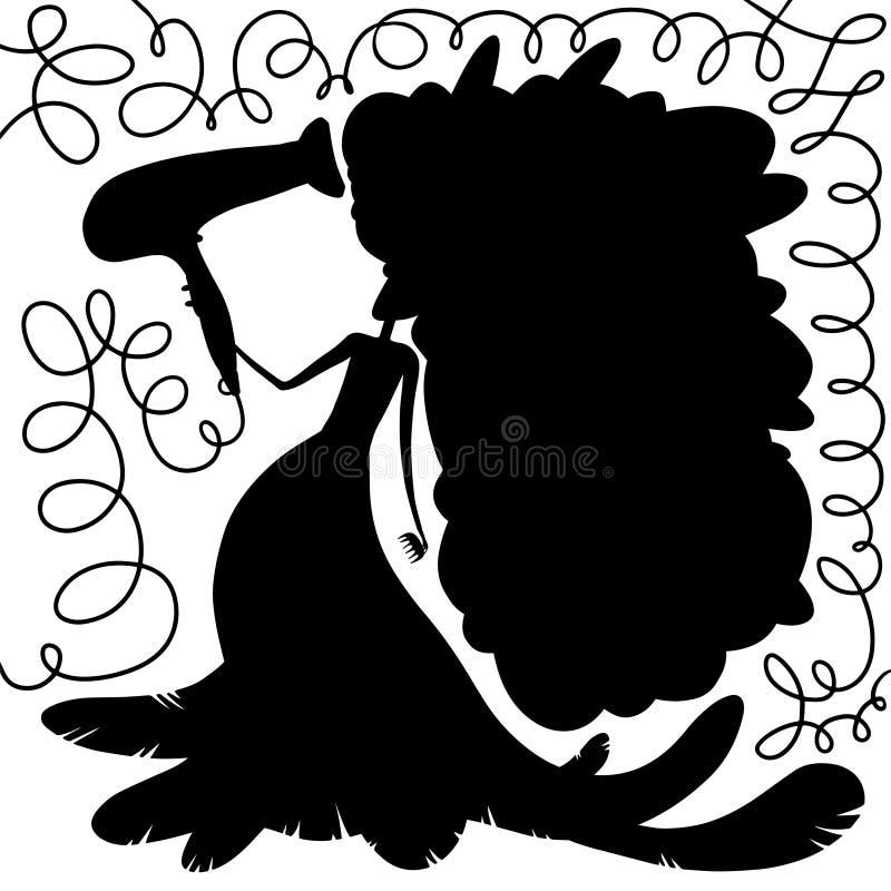 Muchacha de la belleza que hace el brushing el pelo azul largo libre illustration