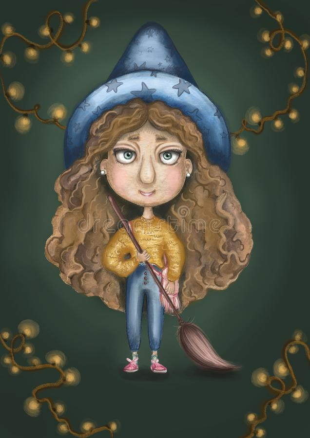 Muchacha de la bruja con una escoba que vuela en manos, suéter amarillo, pelo rizado y un sombrero azul grande imagen de archivo