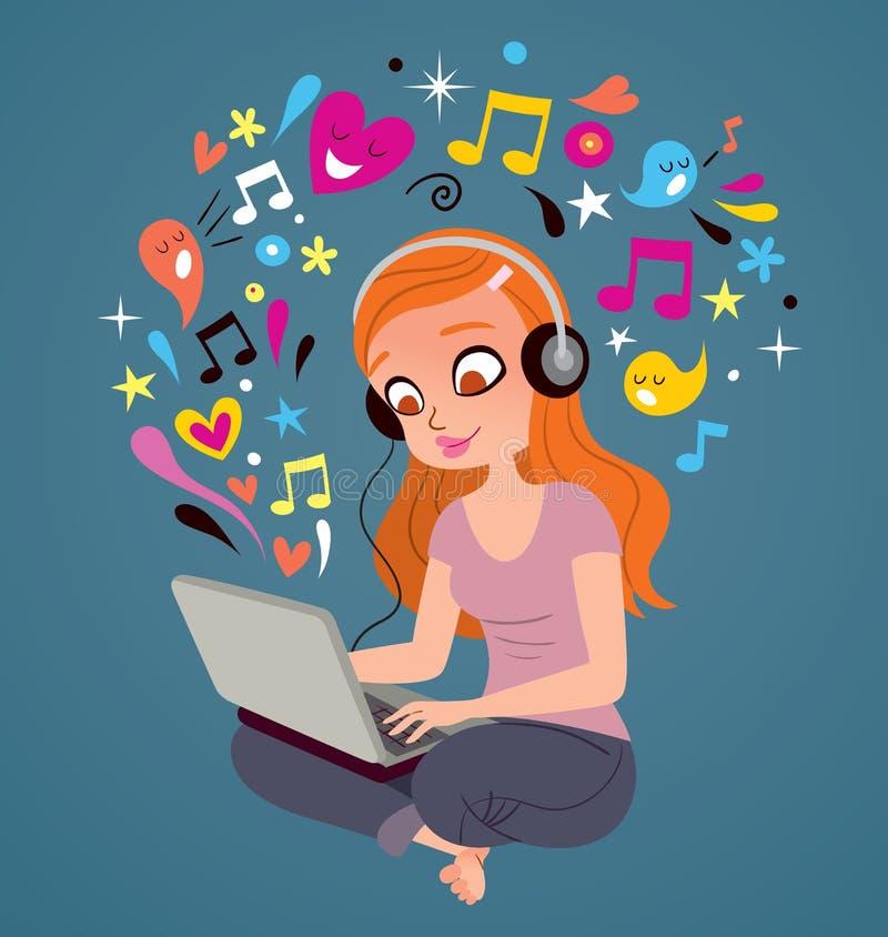 Muchacha de la computadora portátil de los auriculares libre illustration