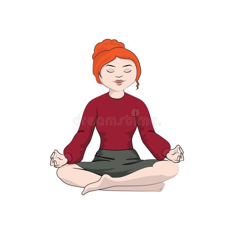 Muchacha de la empresaria, mujer que se sienta en una actitud de la yoga Color del vector stock de ilustración