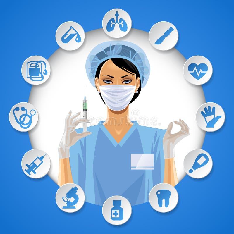 Muchacha de la enfermera en un marco redondo con el sistema del icono de la asistencia médica ilustración del vector