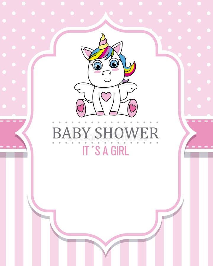 Muchacha de la fiesta de bienvenida al bebé Unicornio lindo stock de ilustración
