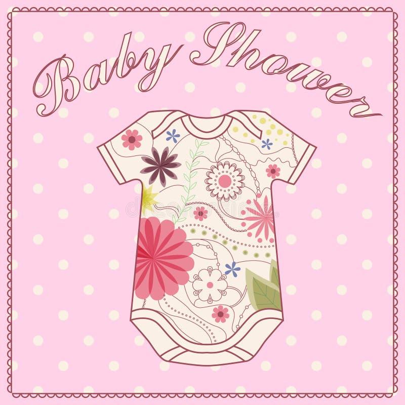 Muchacha de la fiesta de bienvenida al bebé con ropa bady libre illustration
