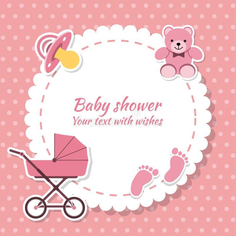 Muchacha de la fiesta de bienvenida al bebé, tarjeta de la invitación stock de ilustración