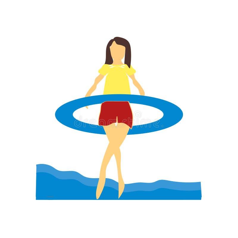 Muchacha de la gimnasia en la muestra y el símbolo del vector del vector del mar aislada en el fondo blanco, muchacha de la gimna libre illustration