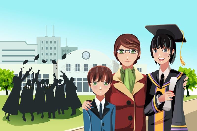 Muchacha de la graduación con la madre y el hermano ilustración del vector