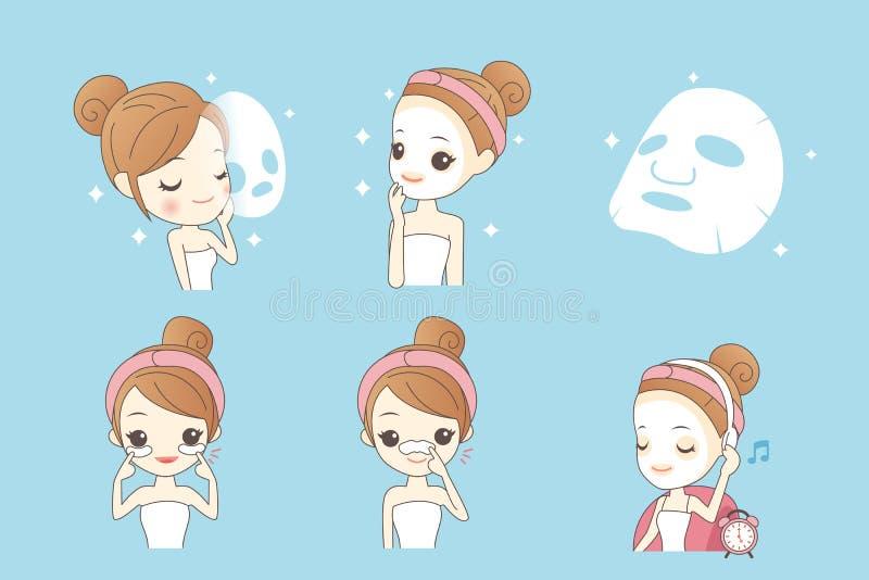 Muchacha de la historieta con la máscara facial libre illustration