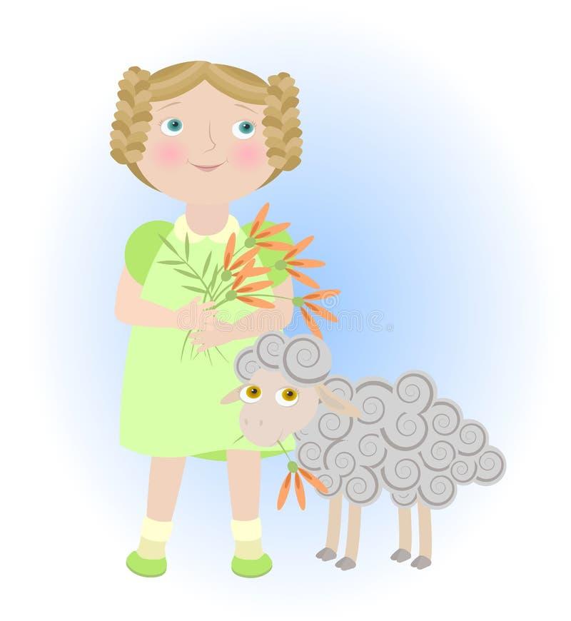 Muchacha de la historieta con las ovejas que ilustran el zodiaco del aries   libre illustration