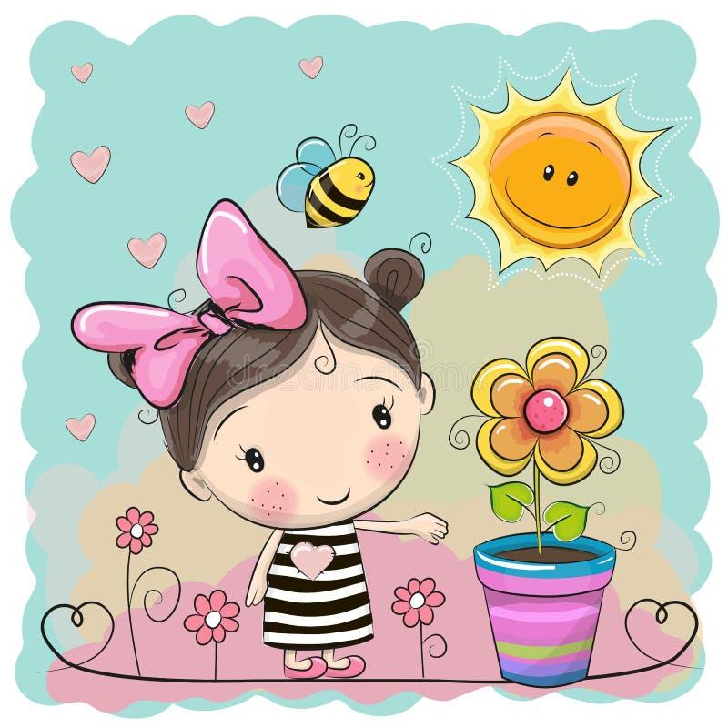 Muchacha de la historieta en el prado con las flores libre illustration