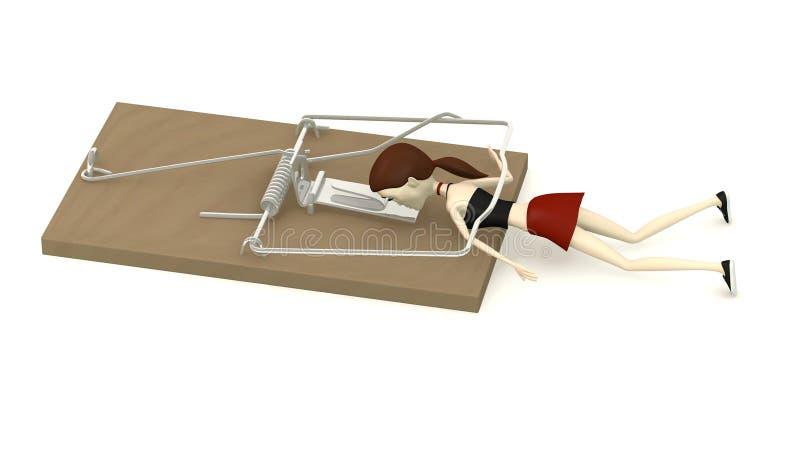 Muchacha de la historieta matada por la ratonera ilustración del vector