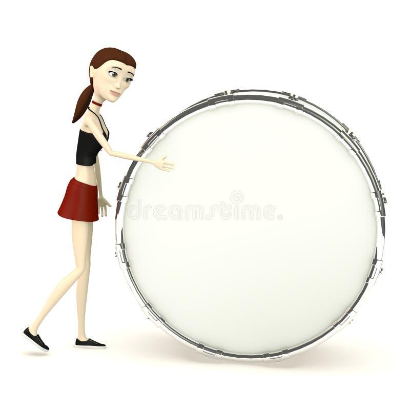 Muchacha de la historieta que juega en el tambor ilustración del vector