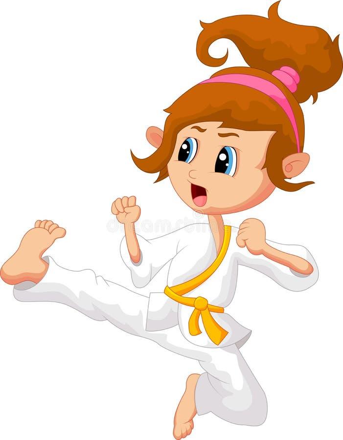 Muchacha de la historieta que juega a karate ilustración del vector