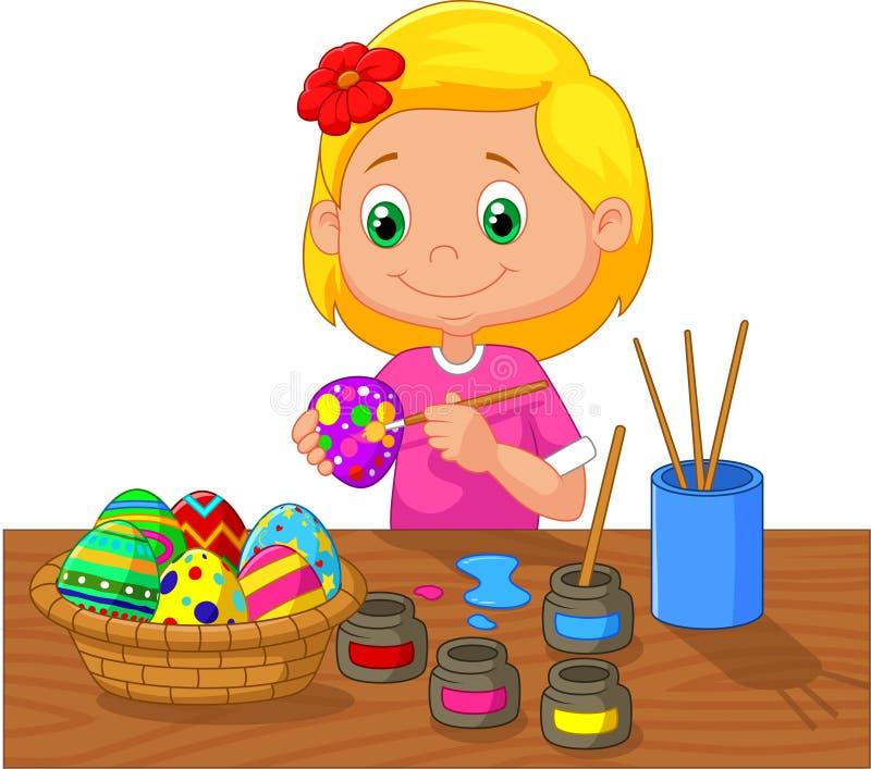 Muchacha de la historieta que pinta los huevos de Pascua stock de ilustración