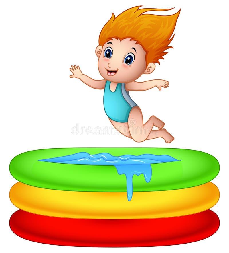 Muchacha de la historieta que salta una piscina inflable stock de ilustración