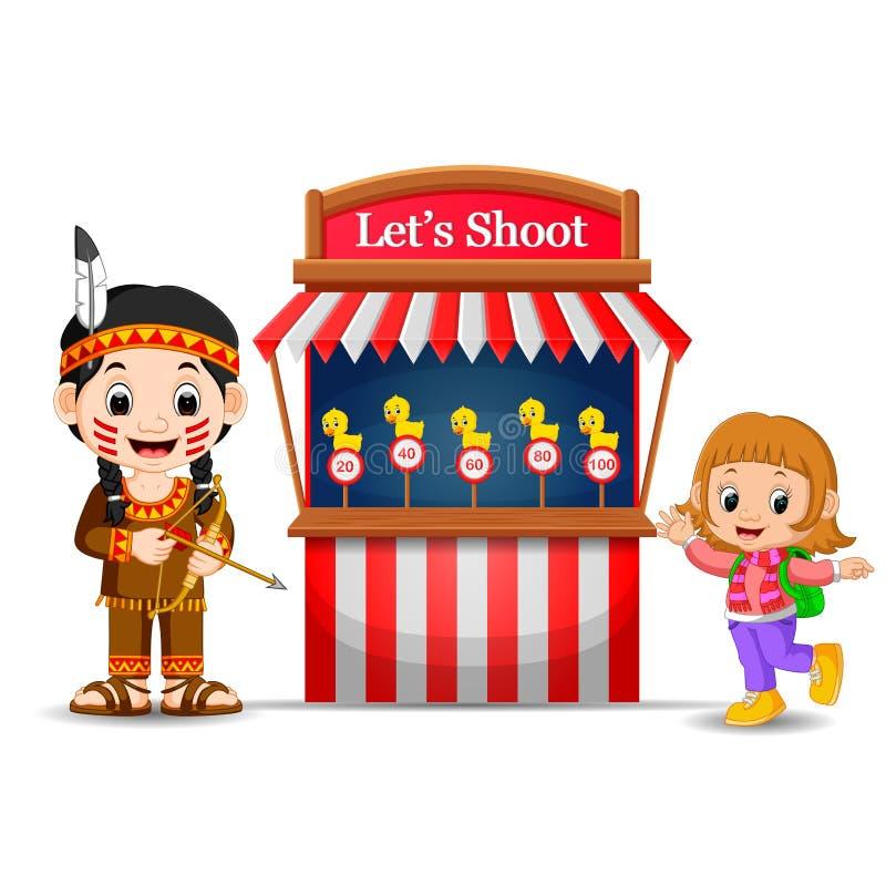 Muchacha de la historieta que usa el traje indio en la cabina del juego del circo ilustración del vector