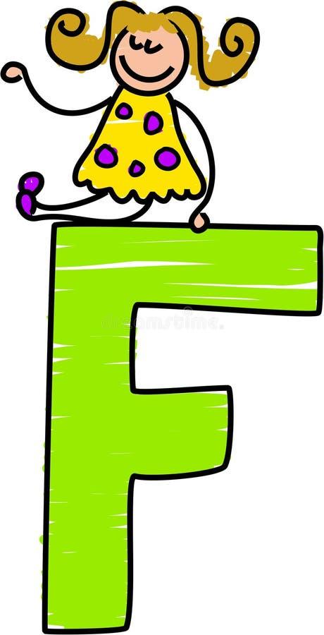 Muchacha de la letra F stock de ilustración