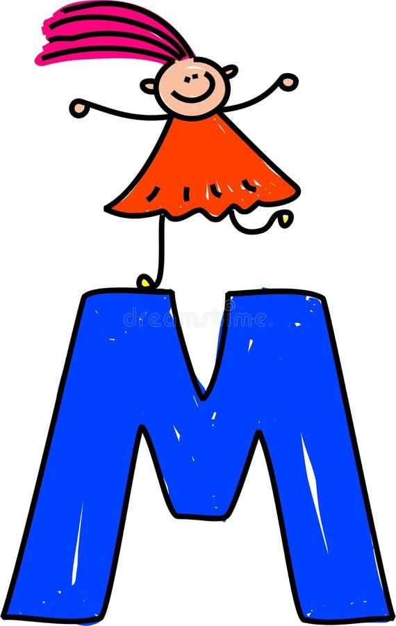 Muchacha de la letra M ilustración del vector