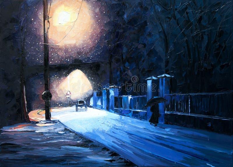 Muchacha de la máquina del parque de la linterna de la nieve del invierno bajo pintura al óleo del paraguas stock de ilustración