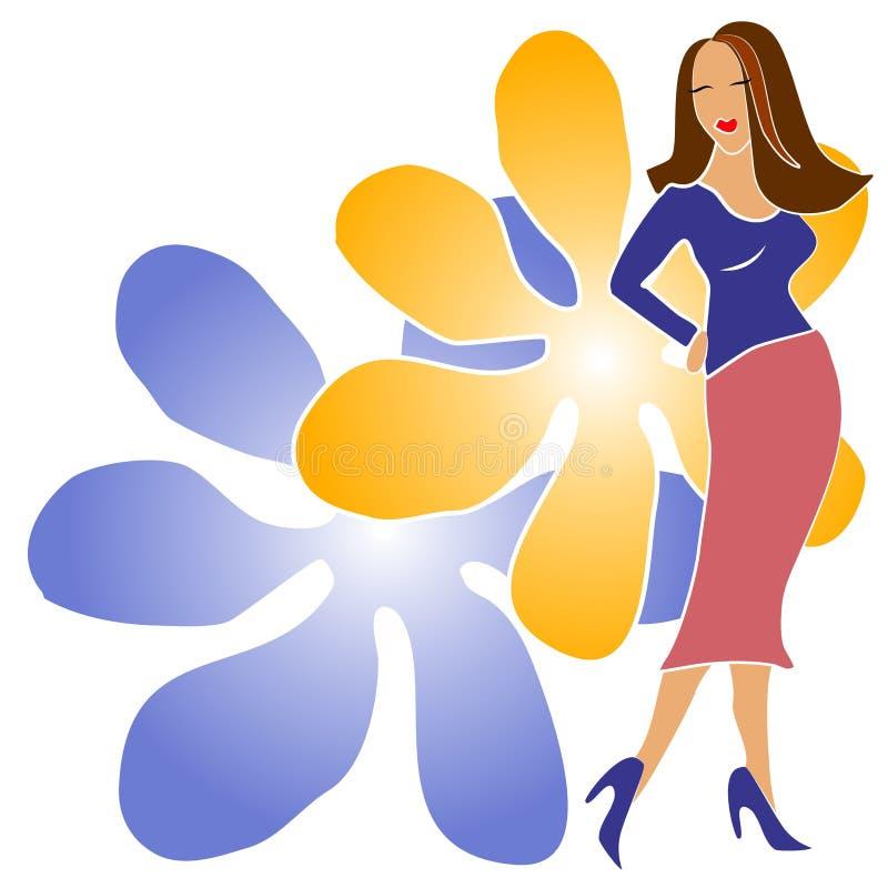 Muchacha de la manera con las flores libre illustration