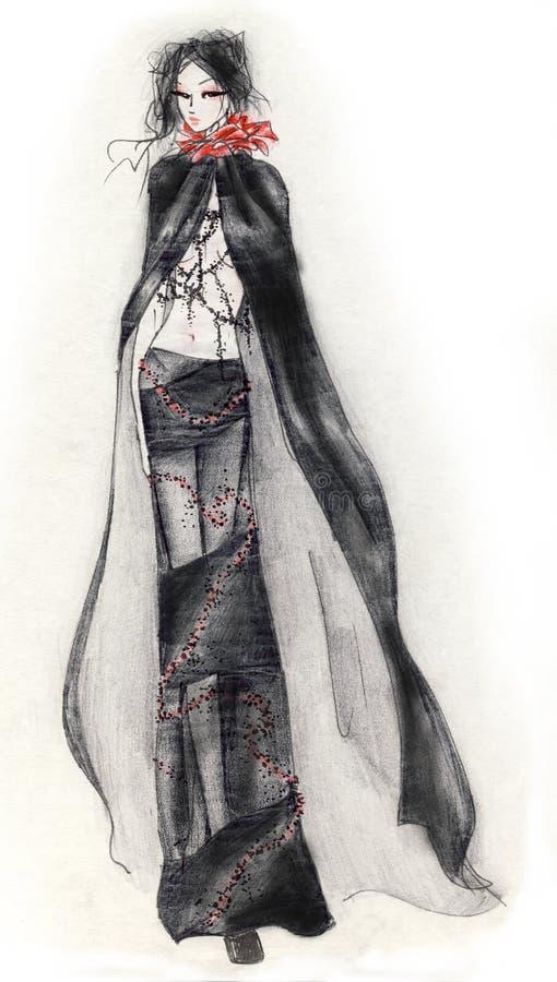 Muchacha de la manera de Goth ilustración del vector
