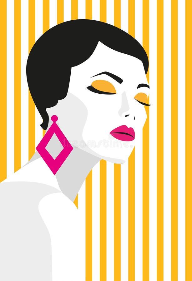Muchacha de la manera Estilo intrépido, mínimo Arte pop OpArt, espacio negativo positivo y color Tiras de moda Ilustración del ve libre illustration