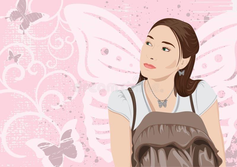 Muchacha de la mariposa stock de ilustración