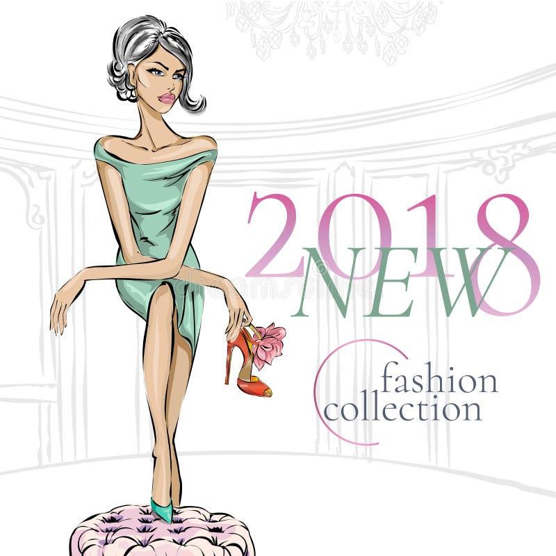 Muchacha de la moda del encanto con los zapatos del tacón alto de la belleza en boutique o armario Zapatos que hacen compras, muj stock de ilustración