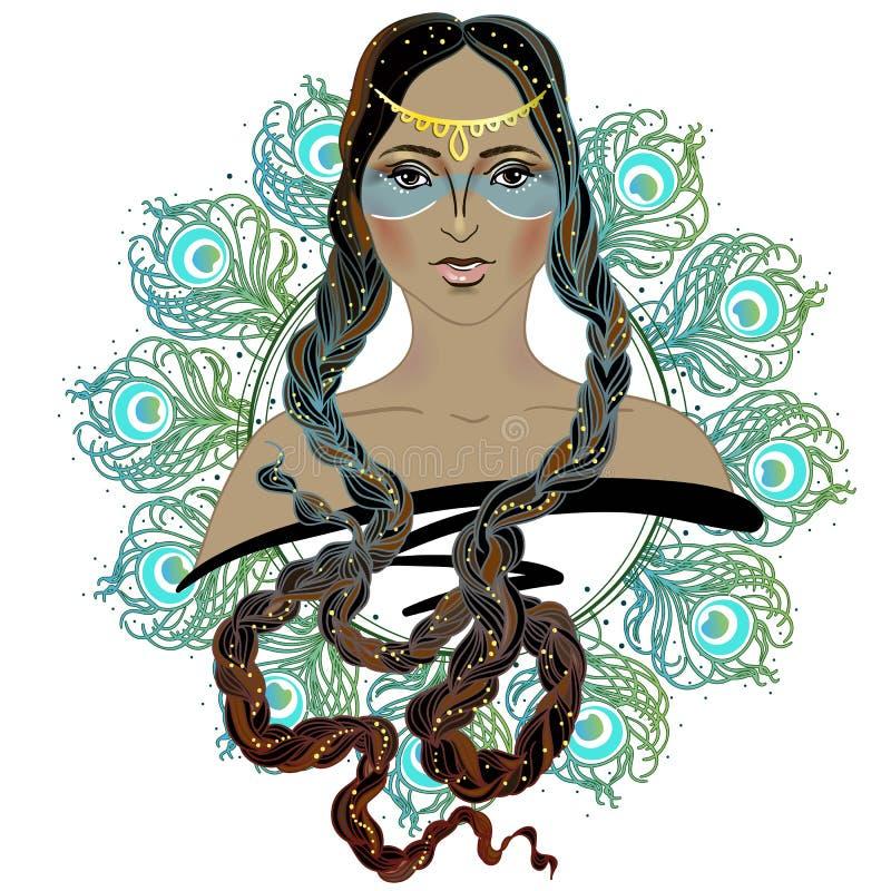 Muchacha de la moda del estilo de Boho Mujer india de la belleza Ilustración del vector stock de ilustración