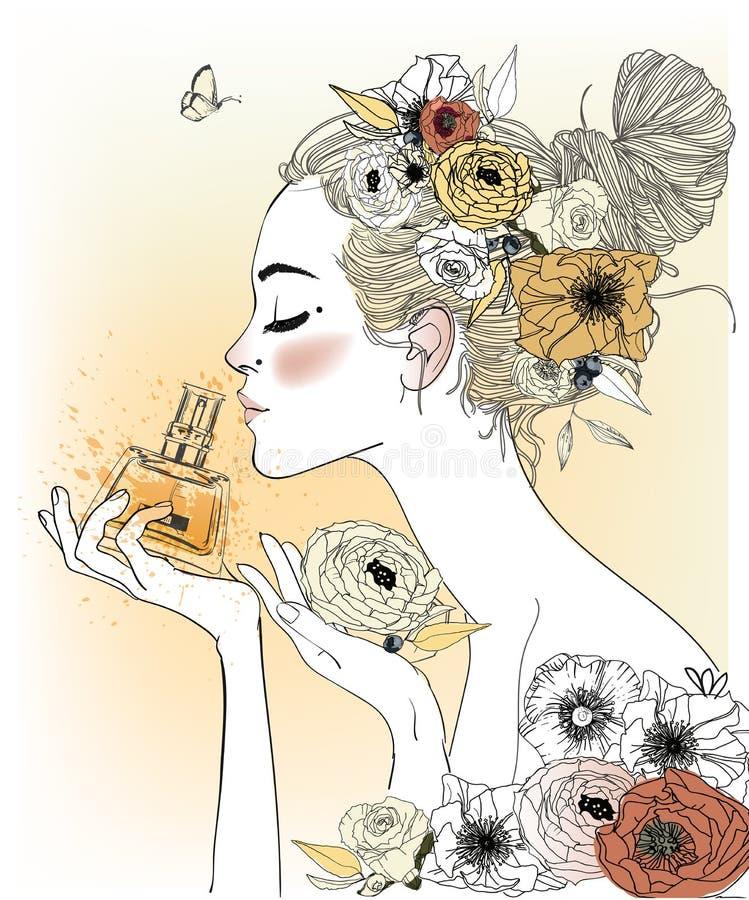 Muchacha de la moda del vintage con perfumes libre illustration