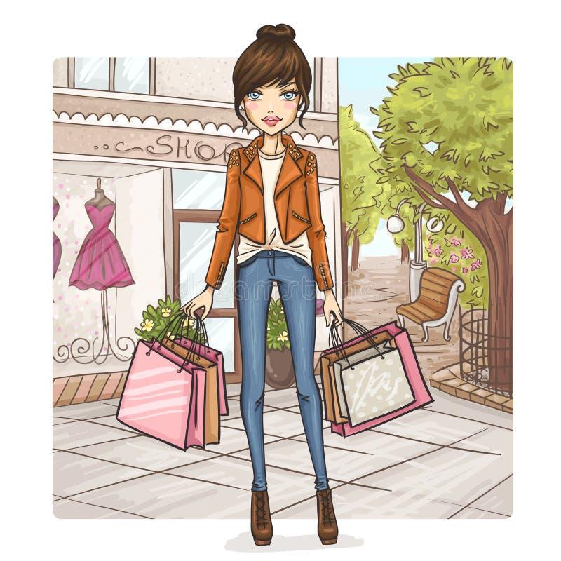Muchacha de la moda en las compras libre illustration
