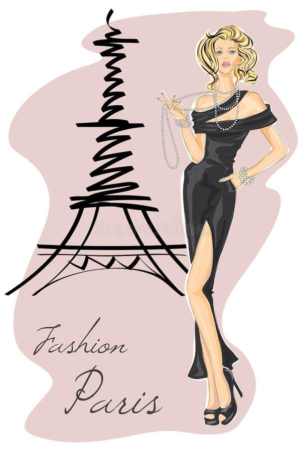 Muchacha de la moda en vestido negro cerca de la torre Eiffel ilustración del vector