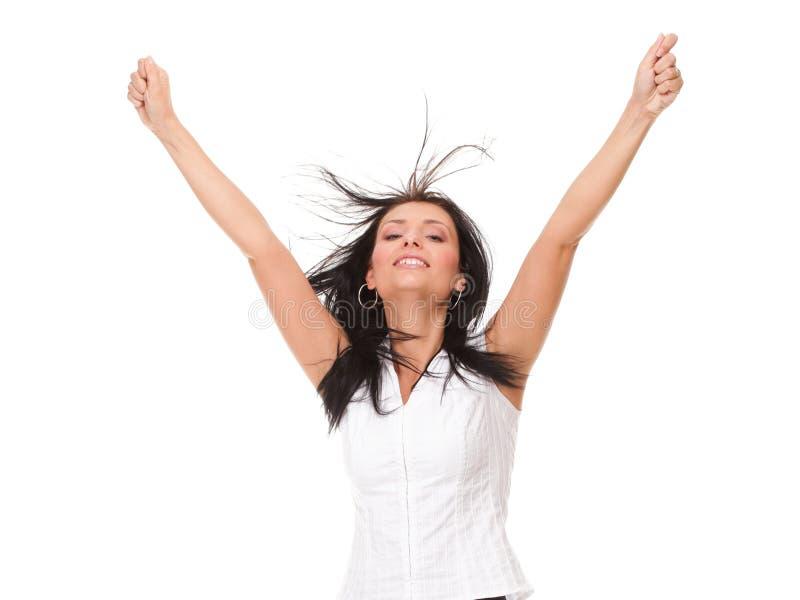 Muchacha de la mujer que aprieta los brazos en el entusiasmo fotos de archivo