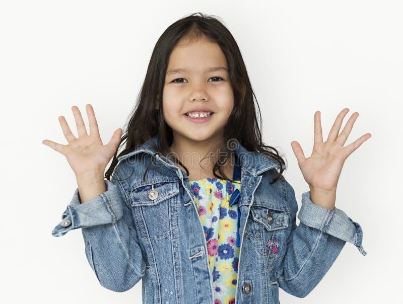 Muchacha de la niñez del lanzamiento del niño de la gente del estudio fotos de archivo