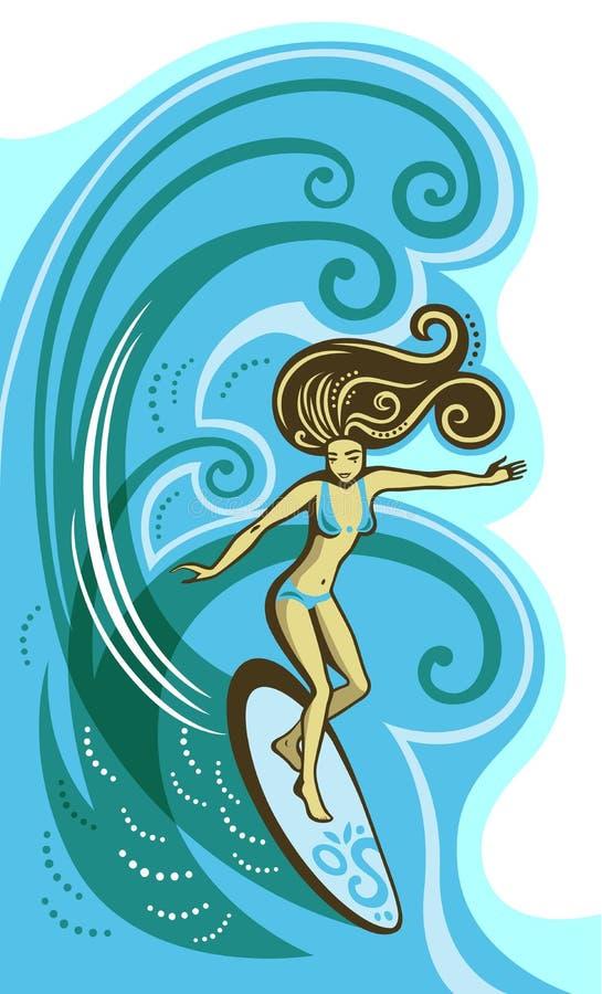 Muchacha de la persona que practica surf ilustración del vector