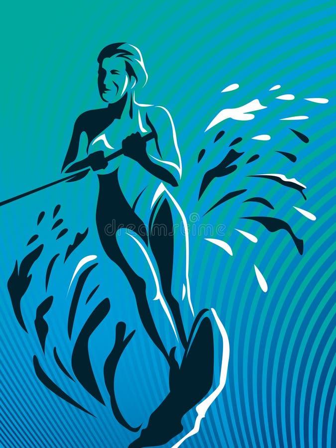 Muchacha de la persona que practica surf libre illustration