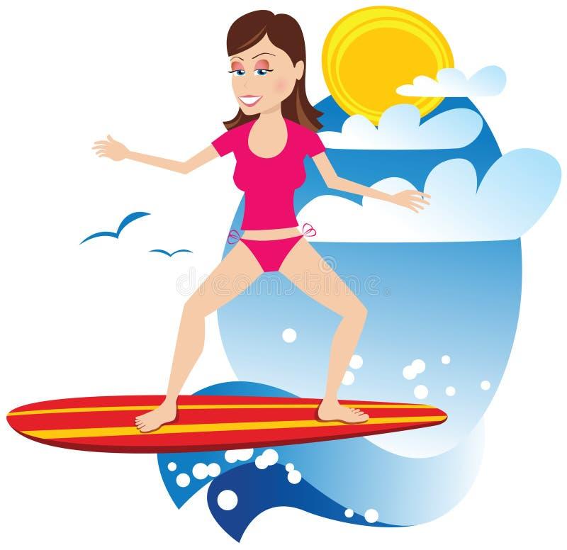 Muchacha de la persona que practica surf stock de ilustración