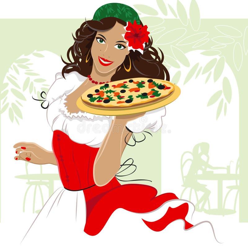 Muchacha de la pizza stock de ilustración