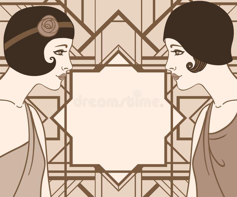 Muchacha de la pulidora: Diseño retro de la invitación del partido ilustración del vector