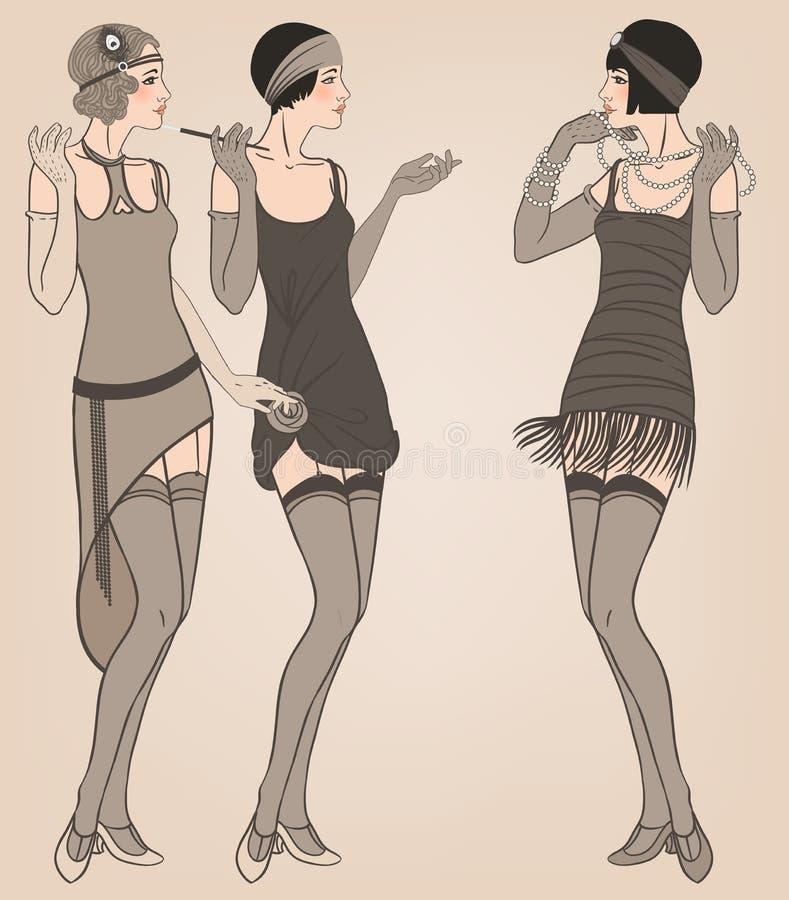 Muchacha de la pulidora: Diseño retro de la invitación del partido stock de ilustración
