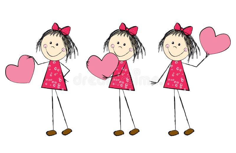 Muchacha de la tarjeta del día de San Valentín ilustración del vector