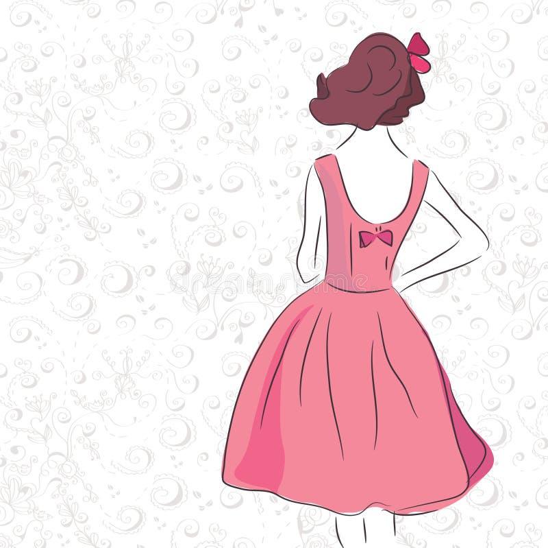Muchacha de la vendimia de la manera en la alineada rosada libre illustration